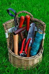wicker basket full of gardening tools